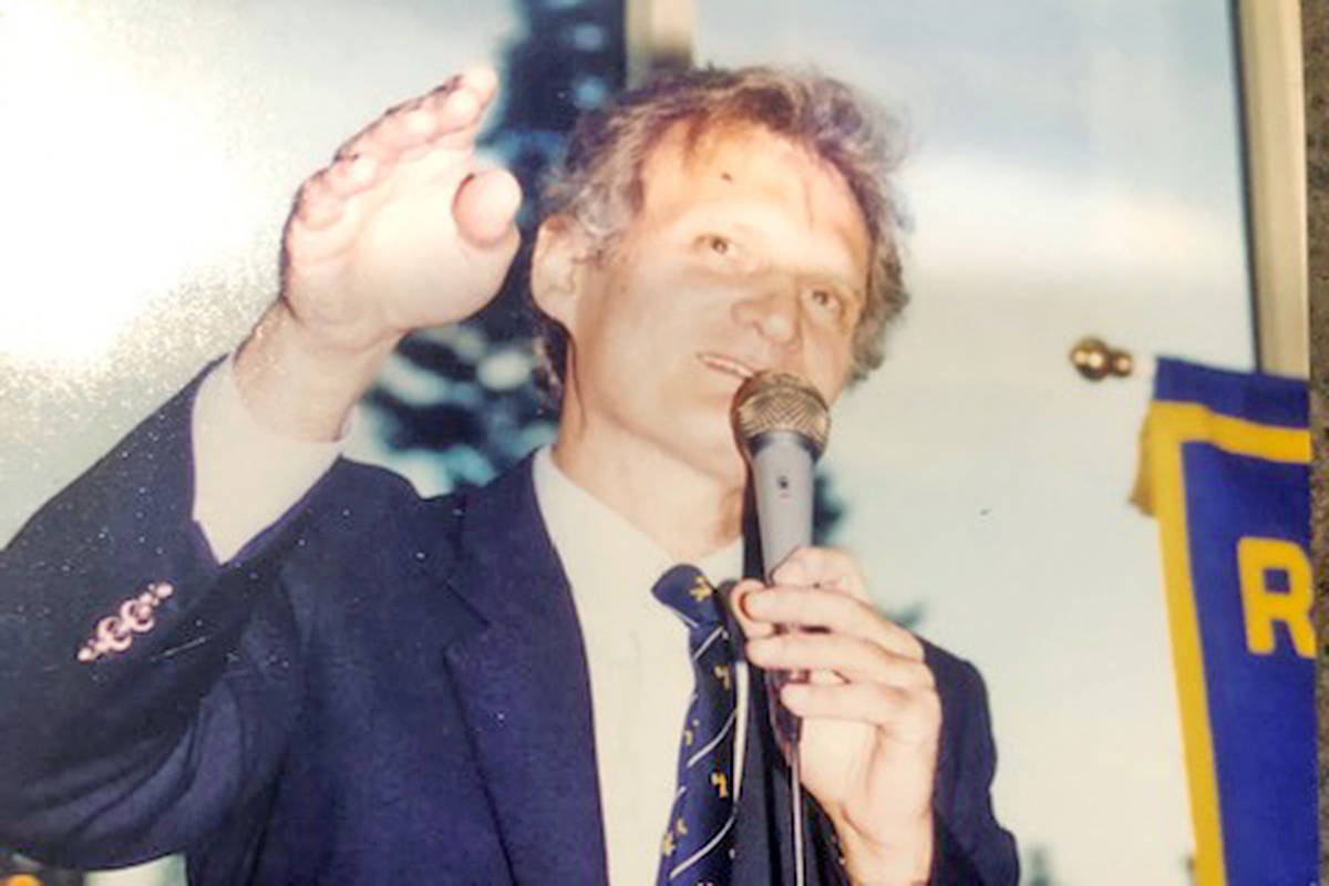 Langley's Bill Lee is remembered as an auctioneer who could sell anything to anyone and do it with a smile. One time, he sold his own tie at a charity auction. (Courtesy Lee family)