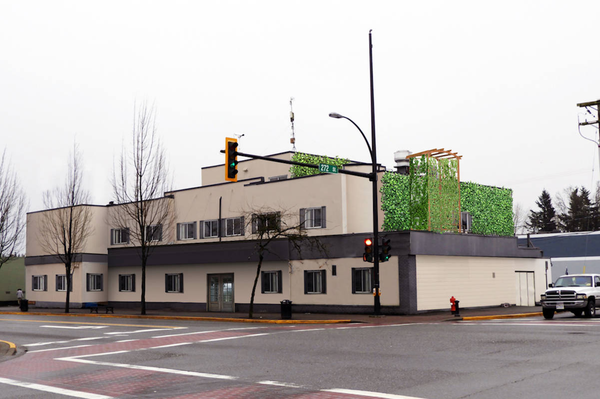 Township Coun. Bob Long is envisioning the Alder Inn with a spruced up facade and new purpose in town, as a rendering shows. (Bob Long/Special to the Aldergrove Star)