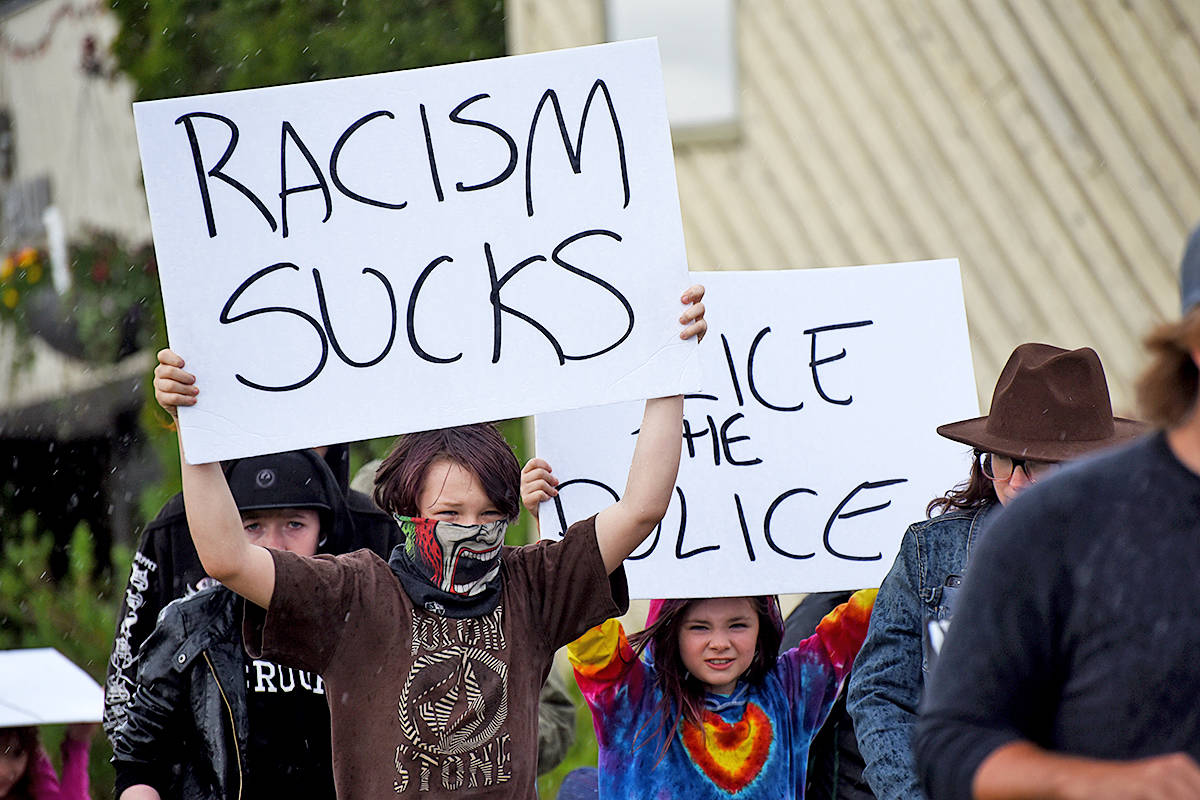 Black Lives Matter protesters marched through the streets of Williams Lake Friday, June 5, led by teen Rea Klar. (Angie Mindus photo)
