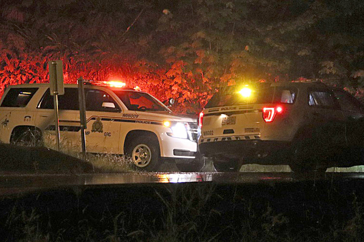 Mission RCMP units on scene at the property on Dewdney Trunk Road. Shane MacKichan photo.