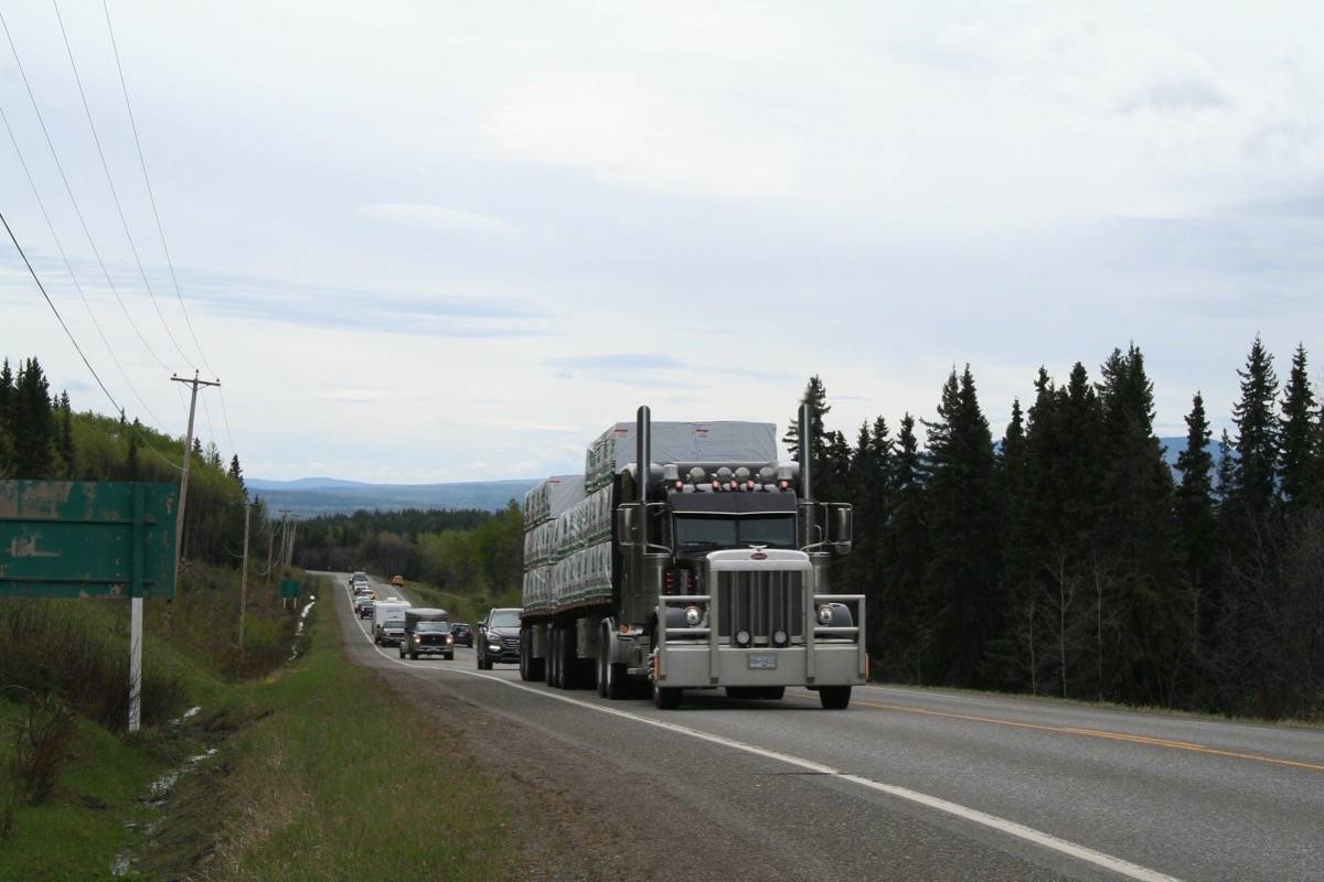 Transport truck on Highway 16, May 2020. (B.C. government)