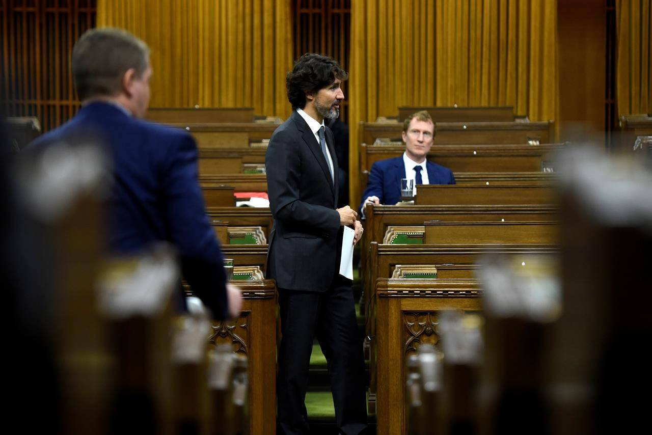 Prime Minister Justin Trudeau rises during a meeting of the Special Committee on the COVID-19 Pandemic in the House of Commons on Parliament Hill in Ottawa, on Tuesday, June 9, 2020. THE CANADIAN PRESS/Justin Tang