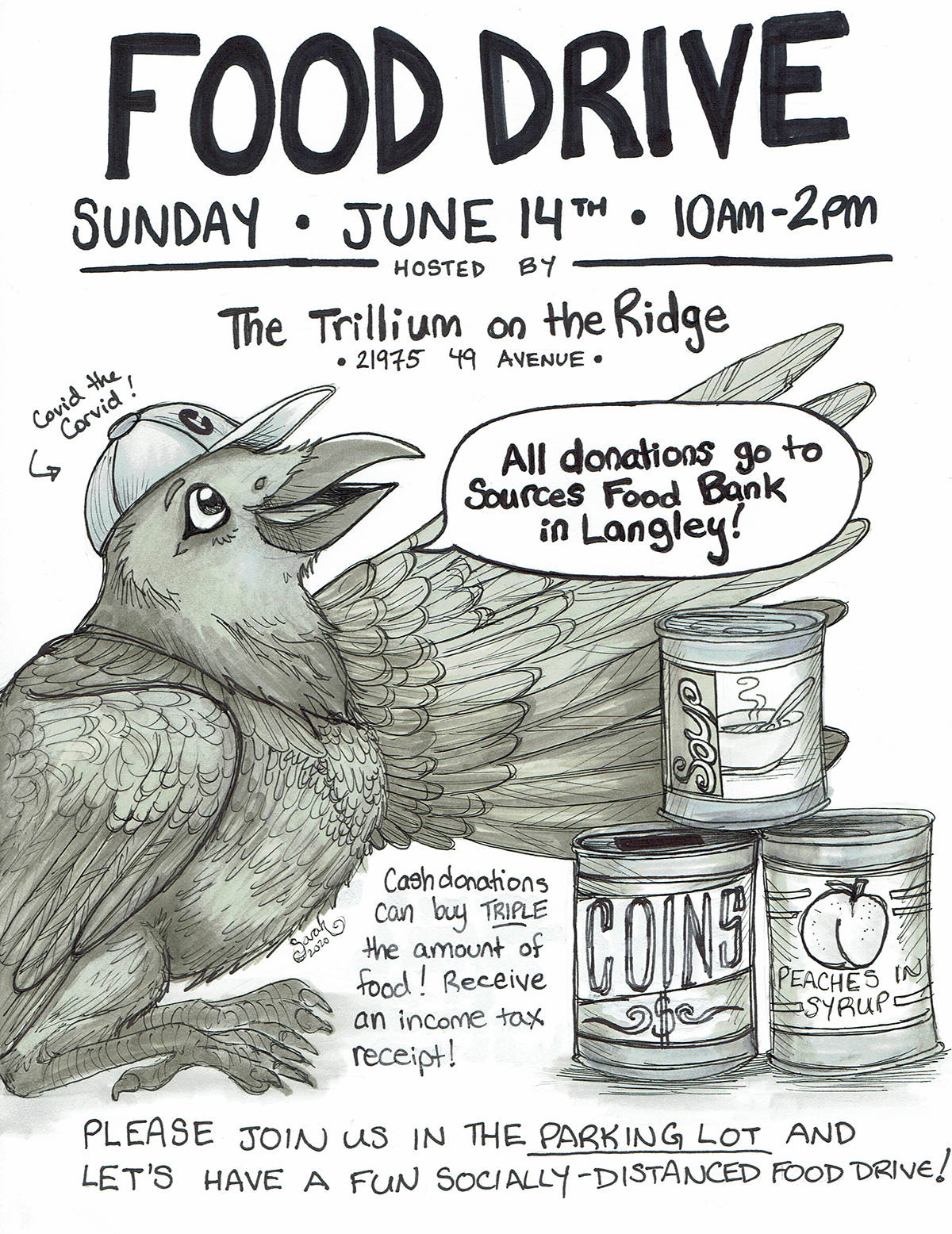 When you see Covid the Corvid (crow), you're at the right place. Murrayville illustrator Sarah Main created the character for a SOURCES Food Bank donation drive at her condo. (Sarah Main/Special to Langley Advance Times)