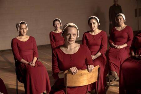 """Elisabeth Moss, foreground, in a scene from """"The Handmaid's Tale."""" THE CANADIAN PRESS/AP-Sophie Giraud/Hulu via AP"""