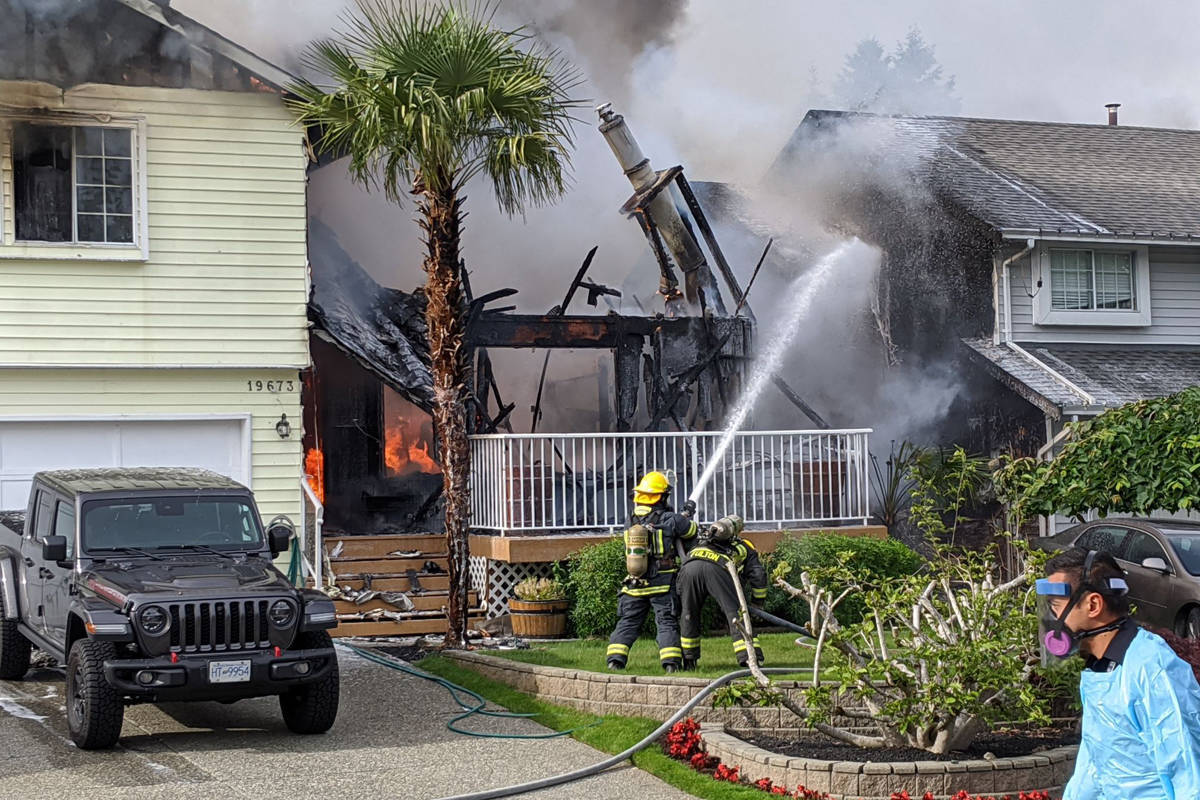 One person died in this house fire on Saturday, June 13, 2020 in the 19600 block of Wakefield Dr. in the Willowbrook area of Langley. Police are investigating. (Curtis Kreklau/South Fraser News Services)
