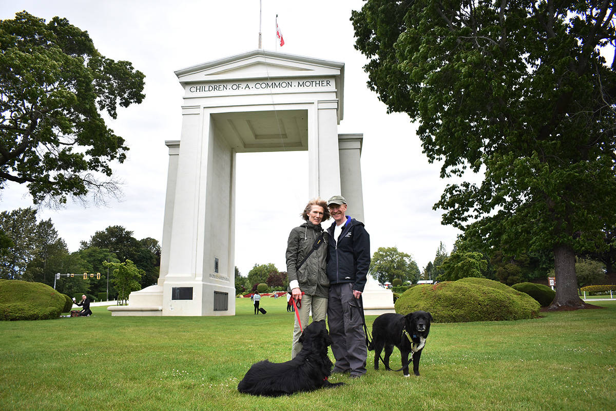 Birgit Heinbach, from South Surrey, and Ian Geddes, from Blaine, aren't able to see each other, except in Peace Arch Park. (Aaron Hinks photo)