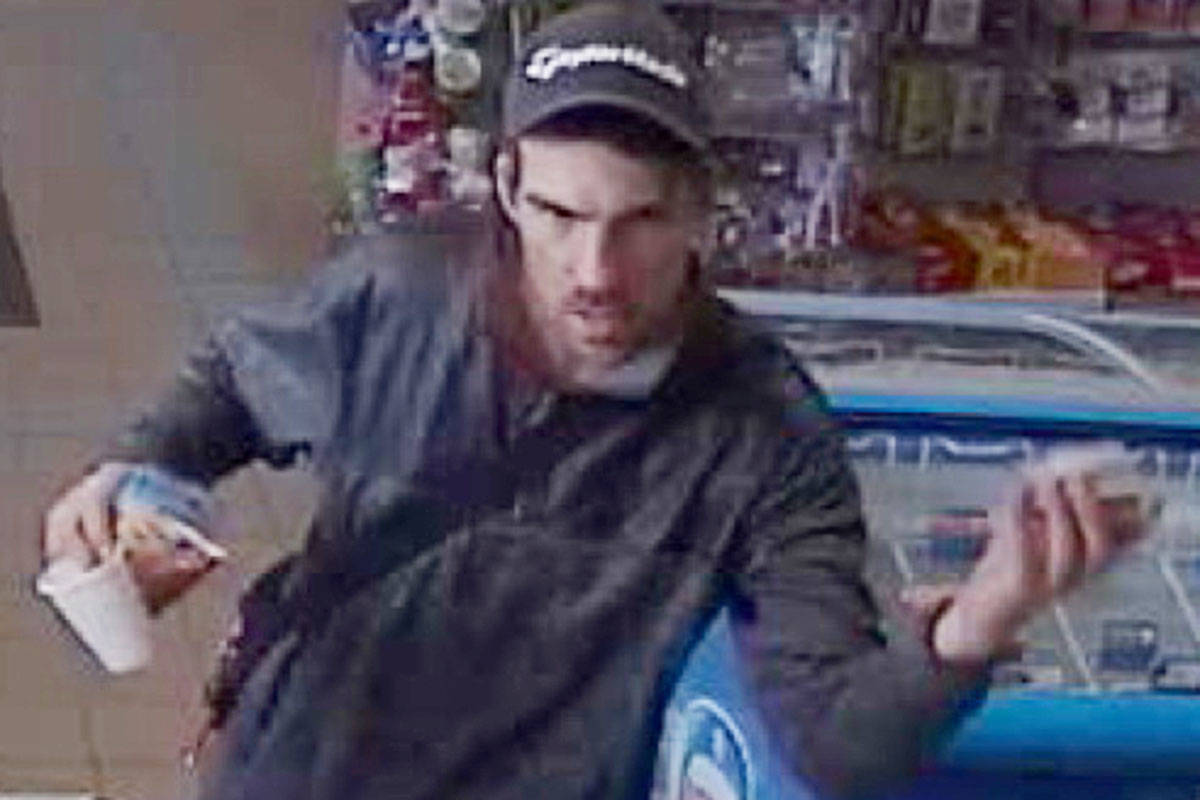 This is one of the men suspected in a food theft from a Langley gas station.