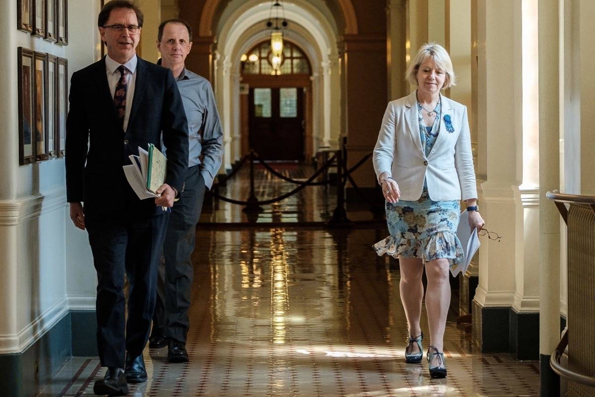 B.C. Health Minister Adrian Dix, deputy minister Stephen Brown and provincial health officer Dr. Bonnie Henry at the B.C. legislature for briefing on coronavirus pandemic projections, June 4, 2020. (B.C. government)
