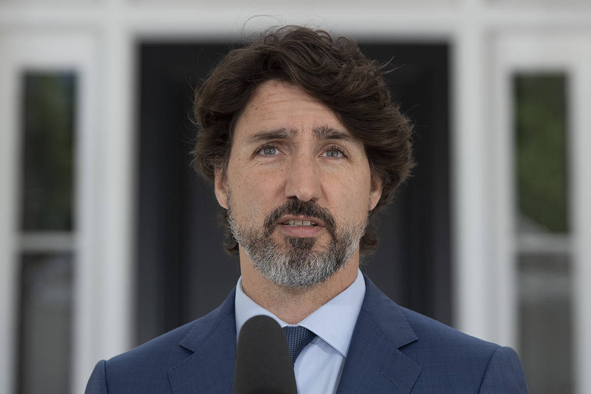 Prime Minister Justin Trudeau responds to questions during a news conference outside Rideau Cottage in Ottawa, Monday June 8, 2020. THE CANADIAN PRESS/Adrian Wyld