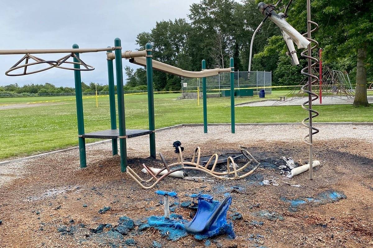 A playground at Beach Grove Elementary in Tsawwassen was destroyed by fire Saturday night (June 13). (Kate Coulson/Facebook photo)