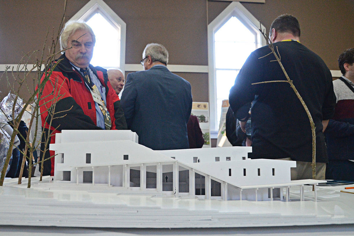 Residents of the Fort checked out information and this mock-up of a possible future cultural centre during an open house in 2018. (Langley Advance Times files)