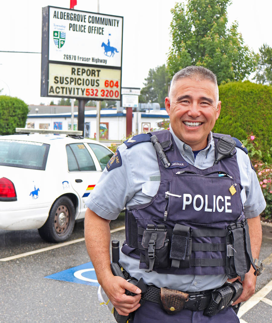 Cpl. Kurt Neuman is stepping down from his position as community liaison after being promoted this June to sergeant – but says he's sticking around as an Aldergrove resident and community member. (Sarah Grochowski/Aldergrove Star)