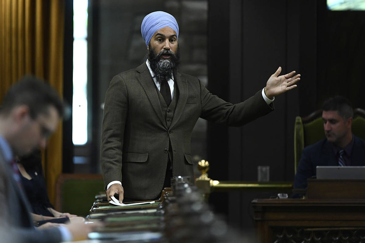 NDP Leader Jagmeet Singh rises during a meeting of the Special Committee on the COVID-19 Pandemic in the House of Commons on Parliament Hill in Ottawa, on Tuesday, June 9, 2020. THE CANADIAN PRESS/Justin Tang