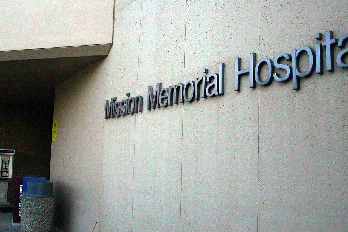 A COVID-19 outbreak has occurred as Mission Memorial Hospital, according to a June 16 update on Fraser Health's website. File photo.