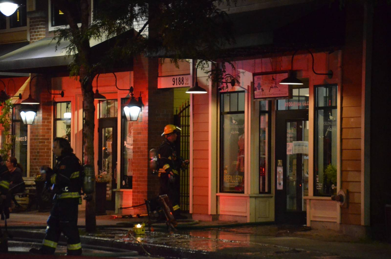Township firefighters responded to Chuckling Duckling Farm in the 9100 block of Glover Road later Tuesday, June 16, 2020 after a fire broke out inside the local Fort Langley business. (Curtis Kreklau/Special to Langley Advance Times)