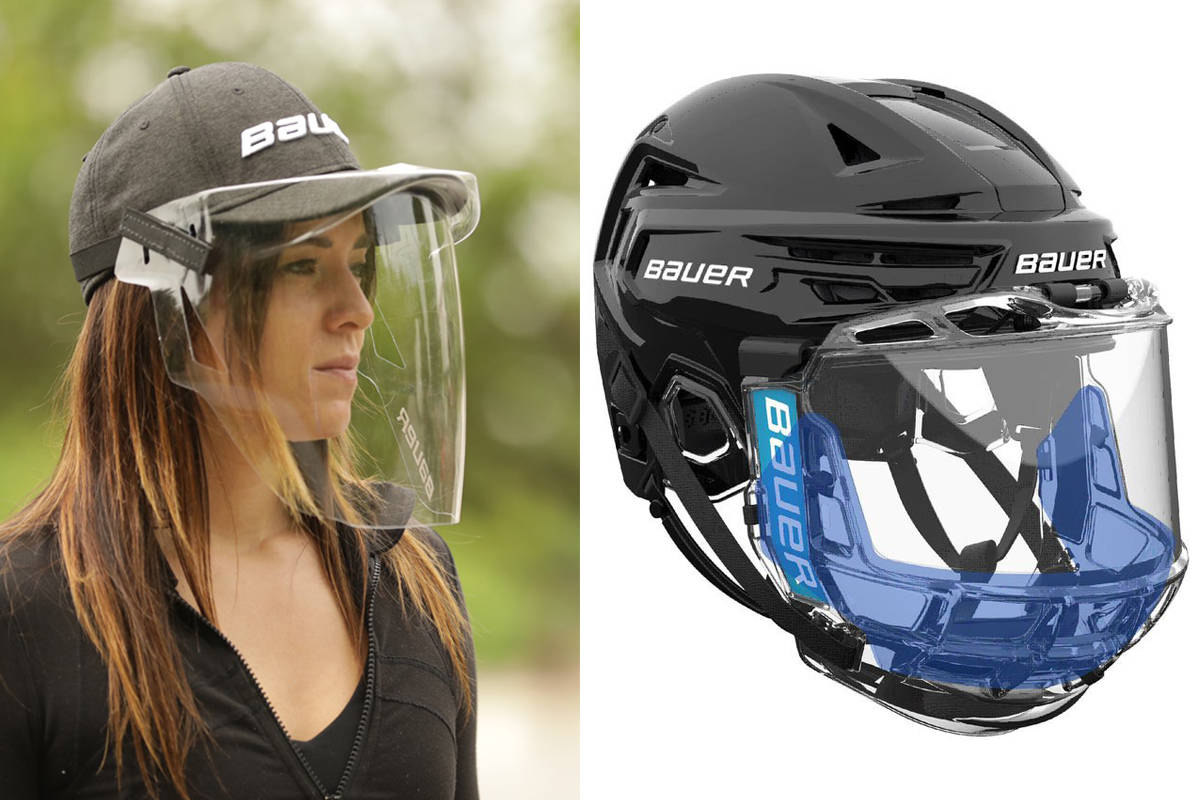 Hockey equipment company Bauer has created the Concept 3 Splash Guard (right) and a cap shield aimed at enabling the safe return of the sport. (Bauer Twitter photos)