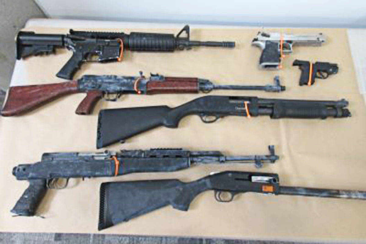 Langley RCMP seized five long guns and two pistols during two recent searches in Surrey. (Langley RCMP)