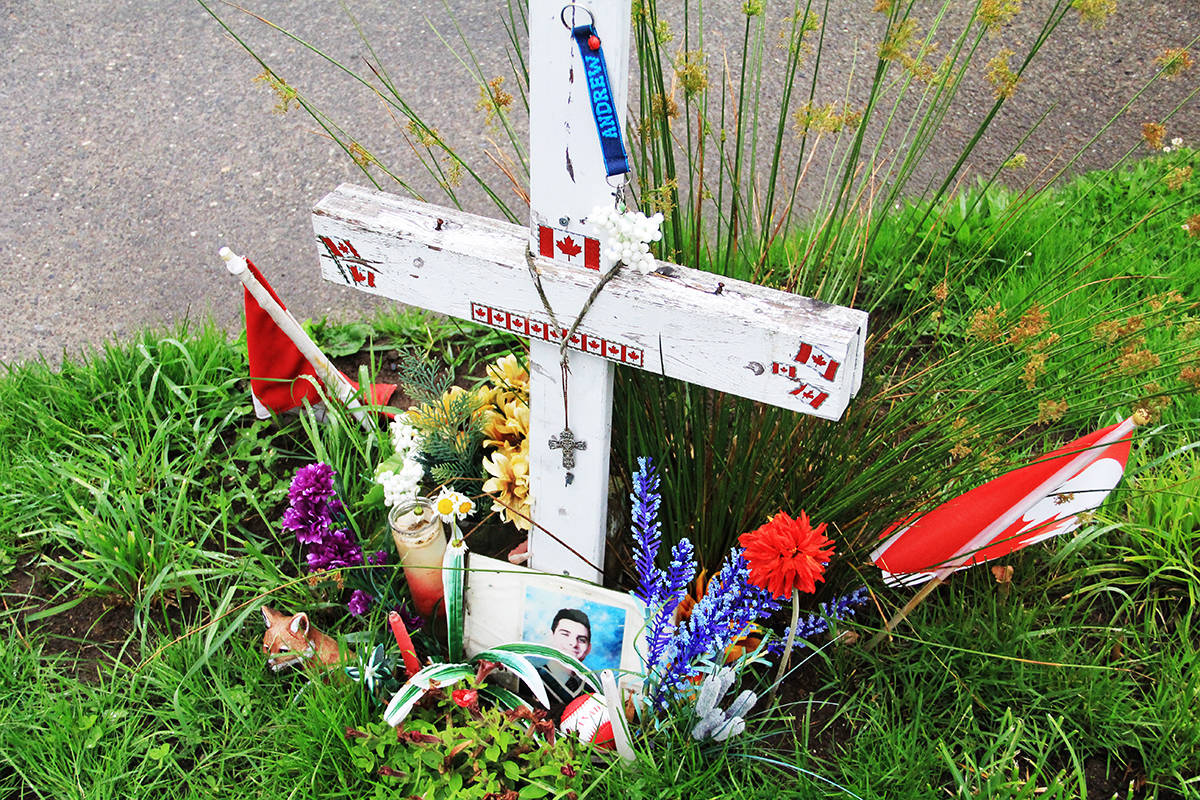 A memorial for Andrew Futerko is seen at the intersection where the 19-year-old lost his life June 20, 2018. (Photo: Malin Jordan)