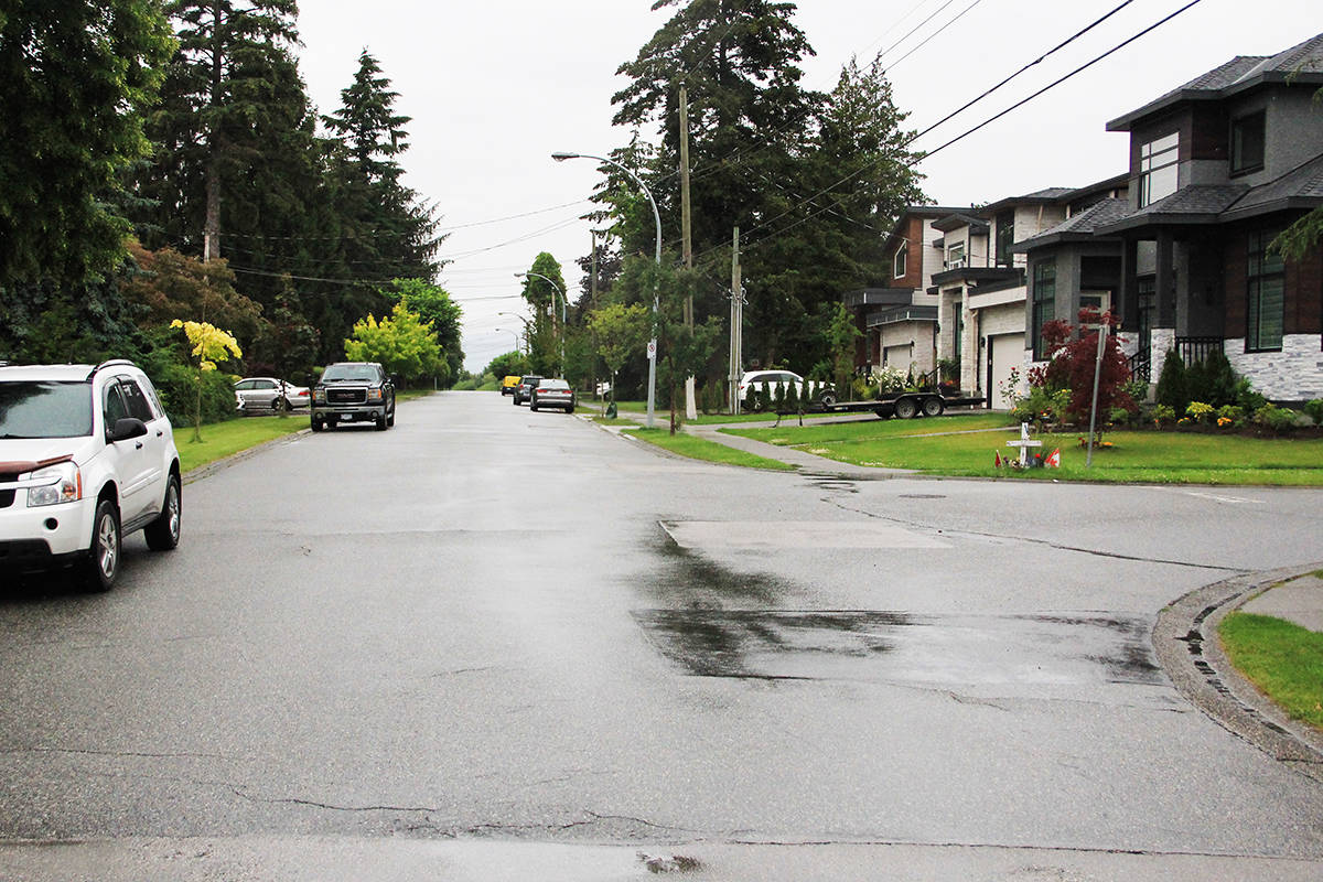 Andrew Futerko died two years ago at this intersection (181A Street at the 61B Avenue) when his motorcycle collided with an SUV. (Photo: Malin Jordan)