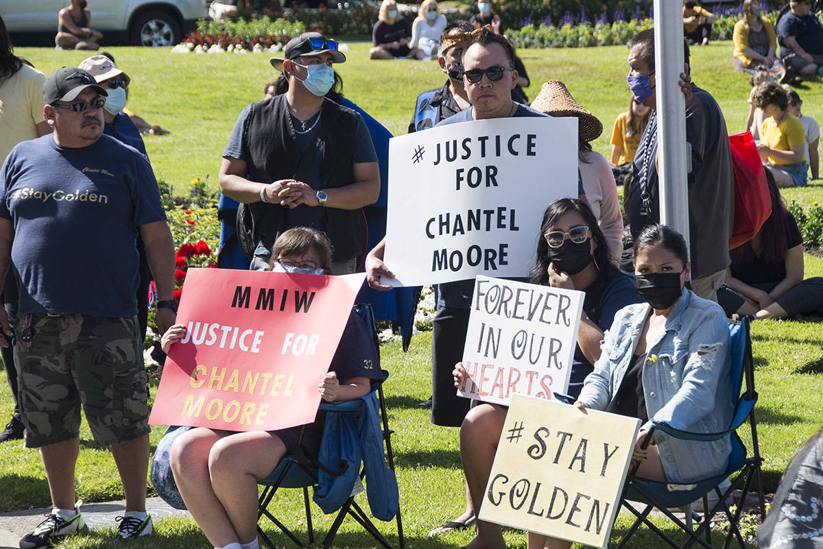Hundreds came to the BC Legislature building the evening of June 18 for a healing gathering to honour the life of Chantel Moore, a Tla-o-qui-aht First Nation woman fatally shot by police in New Brunswick on June 4. (Nina Grossman/News Staff)