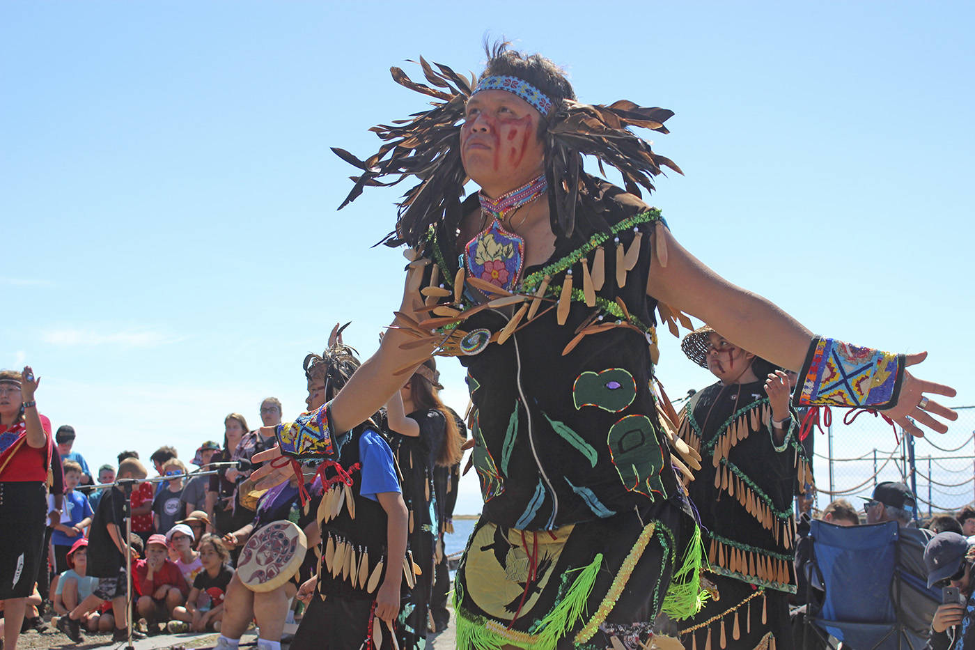 Lekwungen dancers and singers perform at Royal Roads as part of a previous National Indigenous Peoples Day celebrations. (Black Press Media file photo)