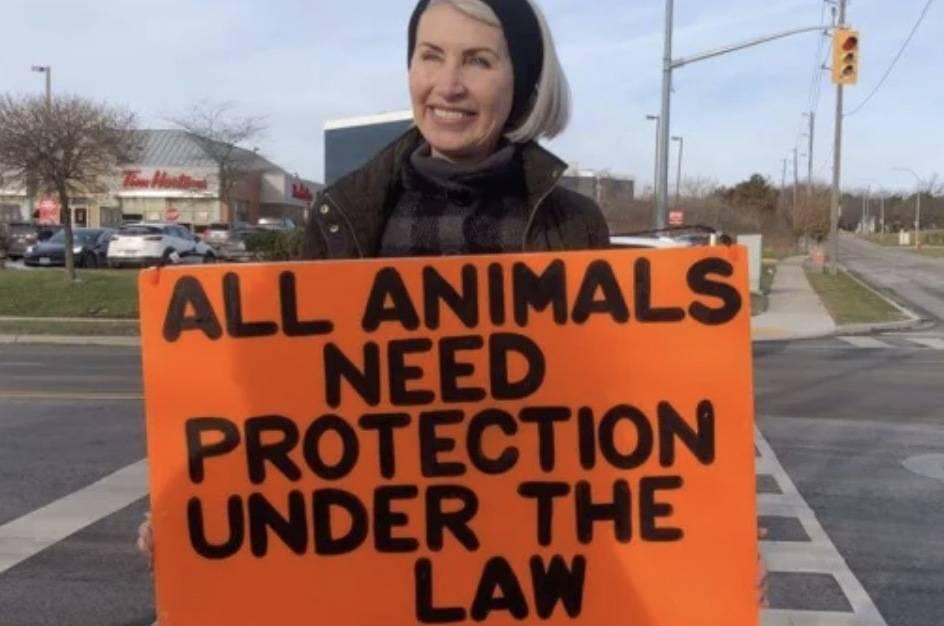 Regan Russell, a member of Toronto Pig Save. (Peta screenshot)
