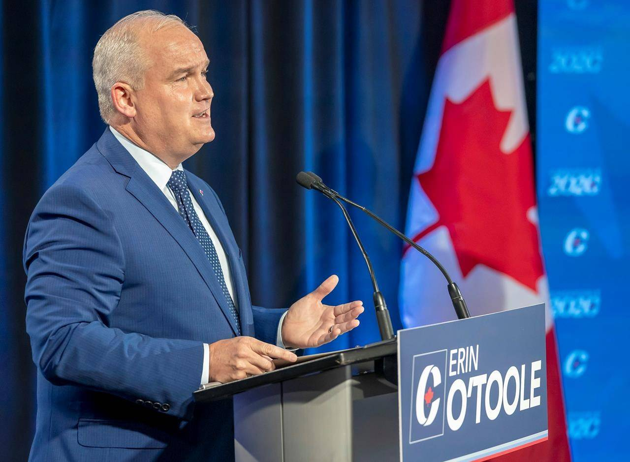 Conservative Party of Canada leadership candidate Erin O'Toole makes his opening statement at the start of the French Leadership Debate in Toronto on Wednesday, June 17, 2020. THE CANADIAN PRESS/Frank Gunn