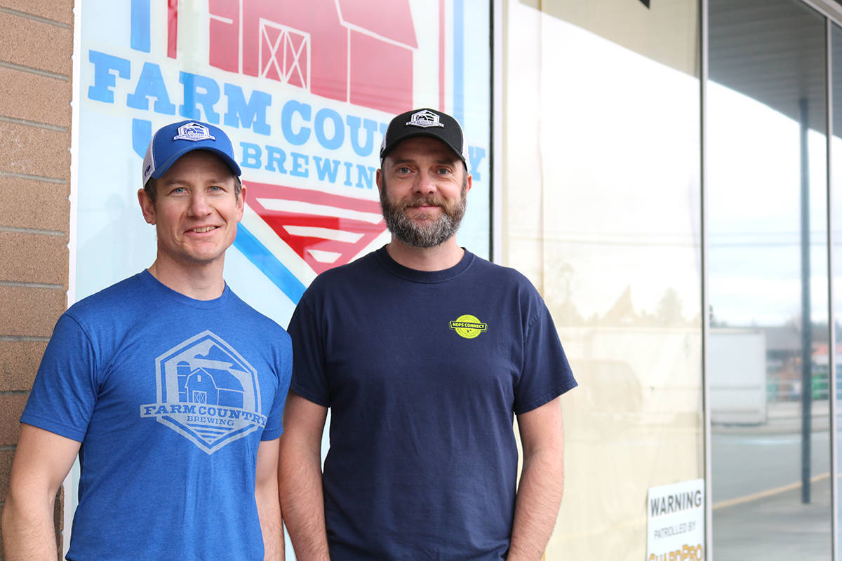 Arnold Tobler (left) is the owner and Jack Bensley (right) is the head brewer of Farm Country Brewing. (Langley Advance Times files)