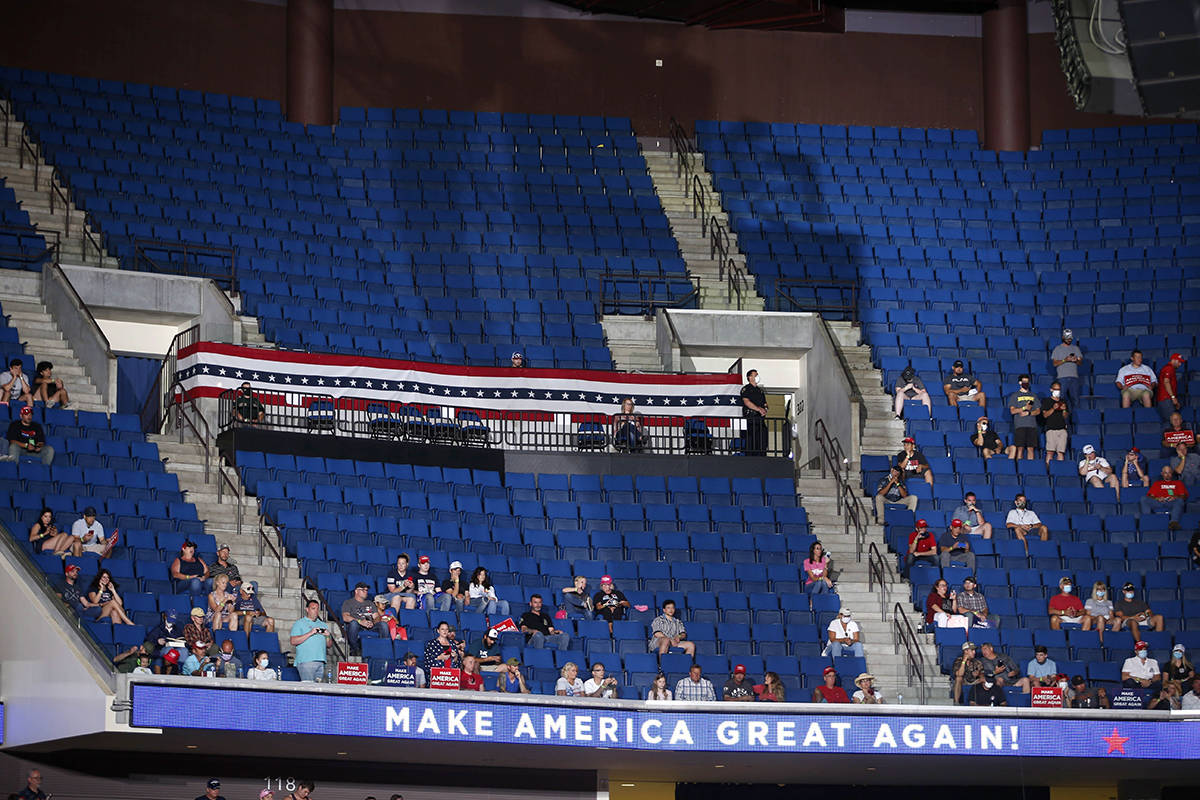 Empty seats are visible in the upper level at a campaign rally for President Donald Trump at BOK Center in downtown Tulsa, Okla., Saturday, June 20, 2020. (Matt Barnard/Tulsa World via AP)