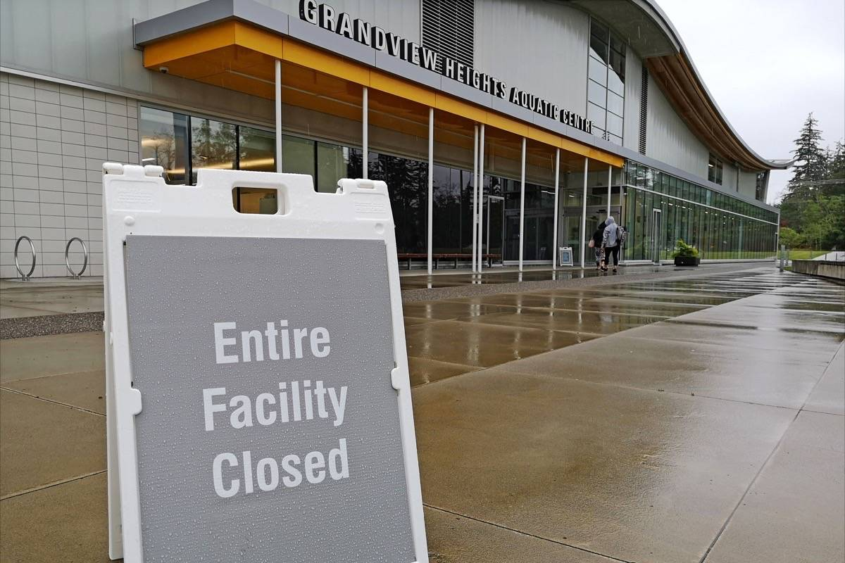 City of Surrey recreation centres, including the Grandview Heights Aquatic Centre in South Surrey, have been closed since mid-March due to the pandemic, and will stay closed until at least September, according to a recent city report, in order to deal with a $37-$42M deficit. (Tracy Holmes photo)