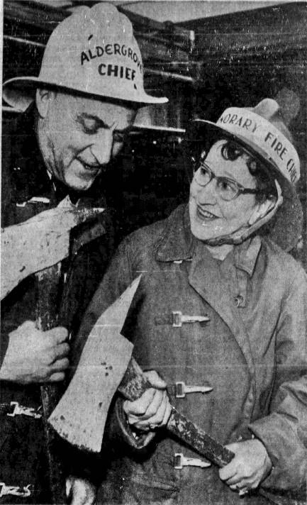 According to a newspaper clipping from Vancouver Sun in 1962, Aldergrove Hotel co-owner Eva Ingersoll was dubbed an honorary community fire chief after a decade of service taking emergency calls and firing up a siren atop the Alder Inn hotel building's roof. (Alder Grove Heritage Society)