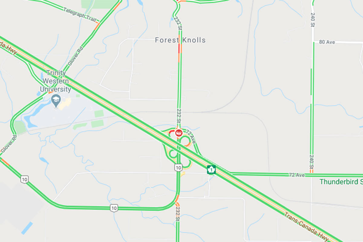 DriveBC is reporting a vehicle incident at the end of the 232nd Street off ramp westbound on Wednesday, June 24, 2020. (Google Maps)