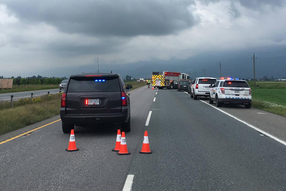 Highway 1 eastbound near Banford Road in Chilliwack at noon on June 24, 2020. (Jenna Hauck/ Chilliwack Progress)