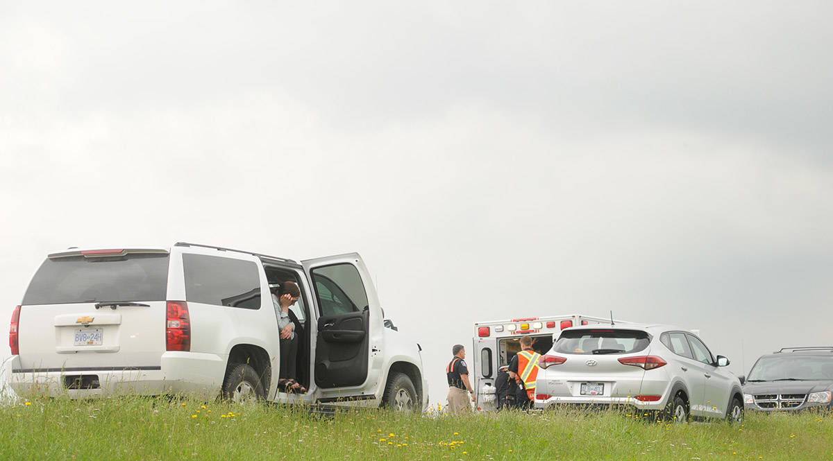 Emergency crews are on scene eastbound on Highway 1 near Prest Road where a pedestrian was hit on Wednesday, June 24, 2020. (Jenna Hauck/ The Progress)