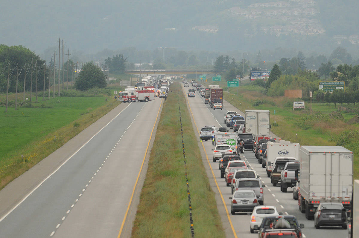 Emergency crews are on scene eastbound on Highway 1 near Prest Road where a pedestrian was hit on Wednesday, June 24, 2020. See more photos at end of story. (Jenna Hauck/ The Progress)