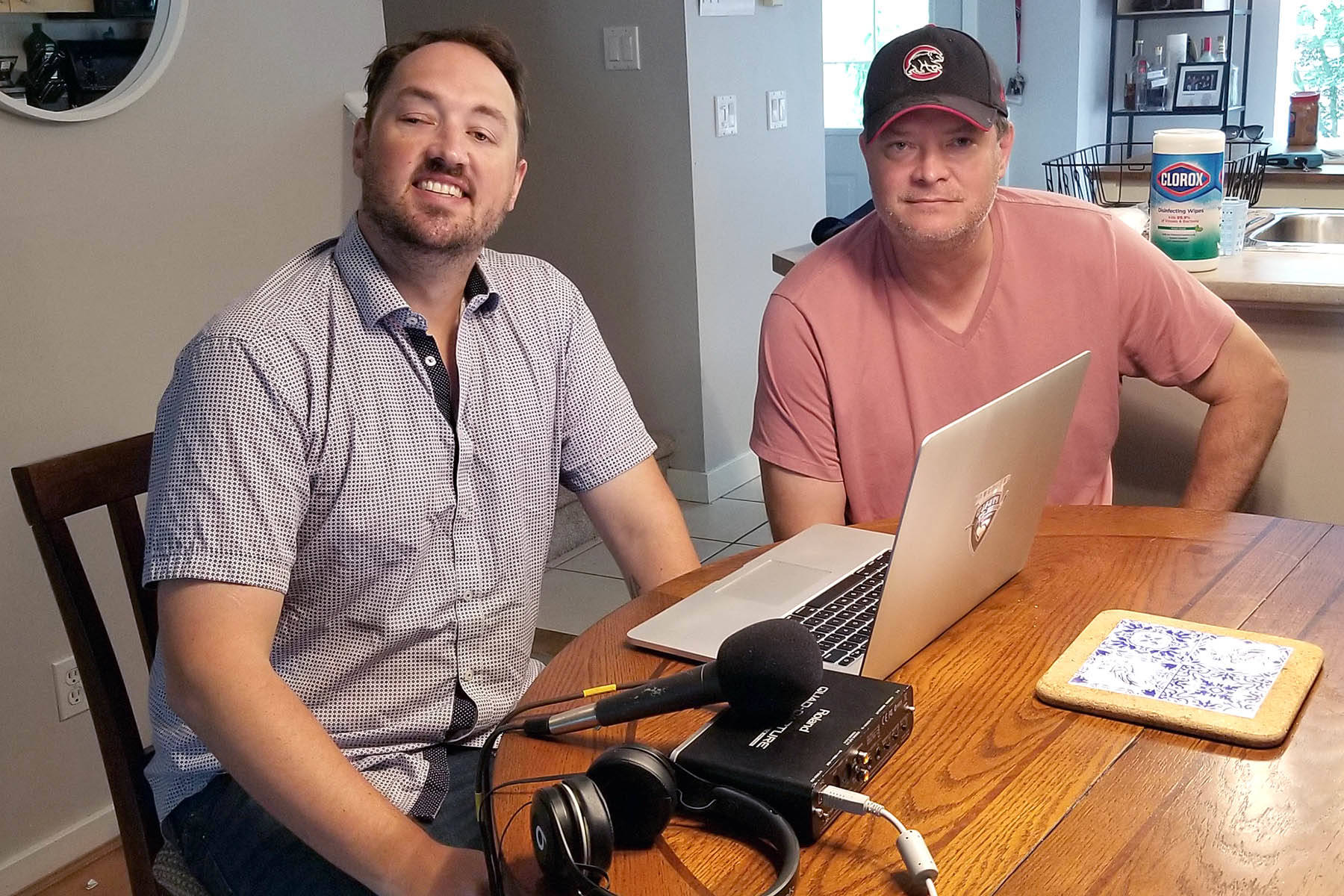 Vancouver Giants play-by-play broadcaster Dan O'Connor (left) and former Surrey Eagles head coach Mark Holick (right) have started a new sports podcast, The Voice & The Coach. The pair are longtime friends and former colleagues with the Prince George Cougars. (Nick Greenizan photo)