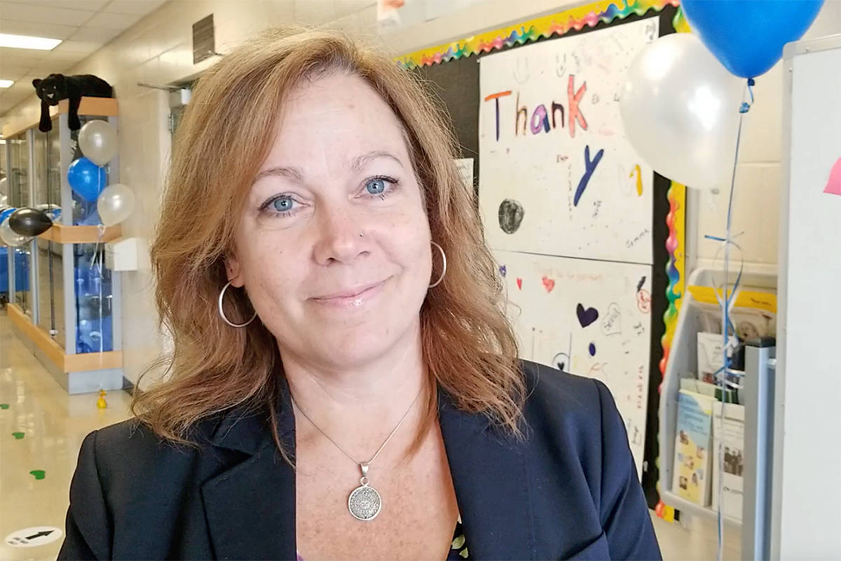 Lynn Fairley, vice-principal of Parkside Centennial School in Aldergrove. Students and parents took part in a modified version of the Grade 5 grad walk through the school on June 24, 2020. (Dan Ferguson/Langley Advance Times)