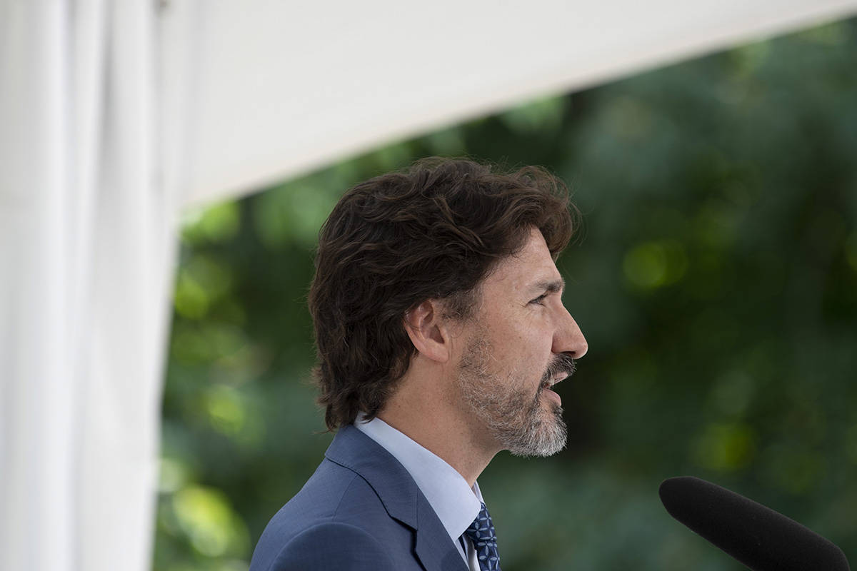 Prime Minister Justin Trudeau responds to a reporters question during a news conference outside Rideau Cottage in Ottawa, Monday June 22, 2020. THE CANADIAN PRESS/Adrian Wyld