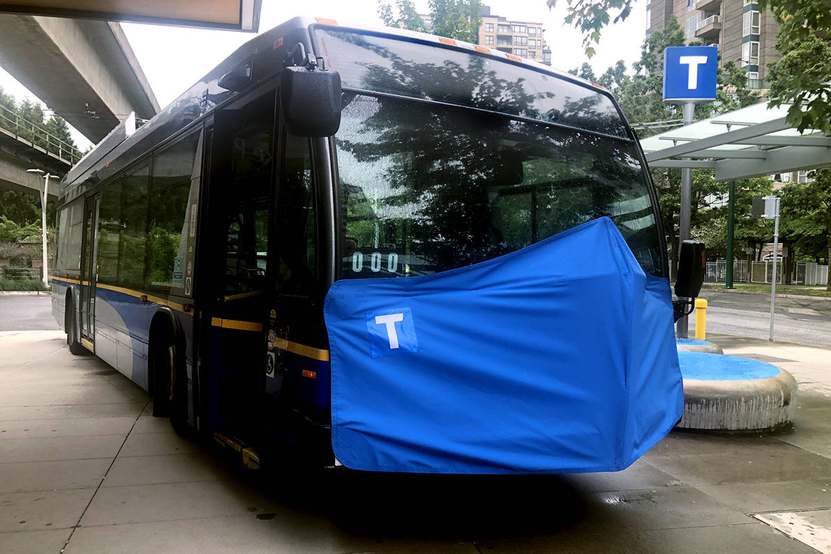 A promotional masked bus is part of TransLink's plan to get more riders to wear masks on transit. (TransLink)