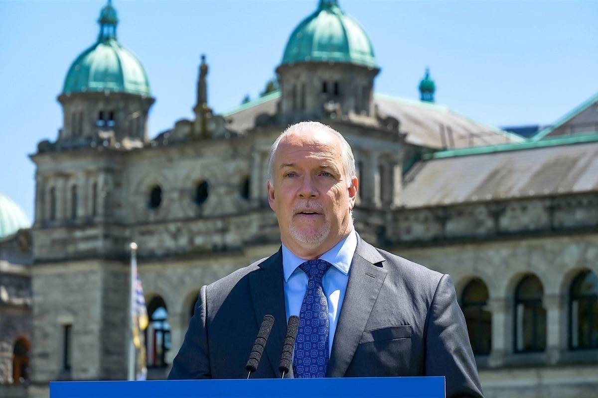 B.C. Premier John Horgan speaks about economic recovery from the COVID-19 pandemic at the B.C. legislature, June 17, 2020. (B.C. government)