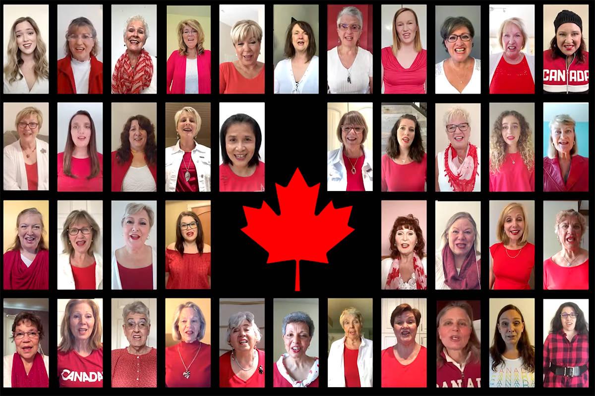 Westcoast Harmony Chorus sings O Canada. (Screenshot)