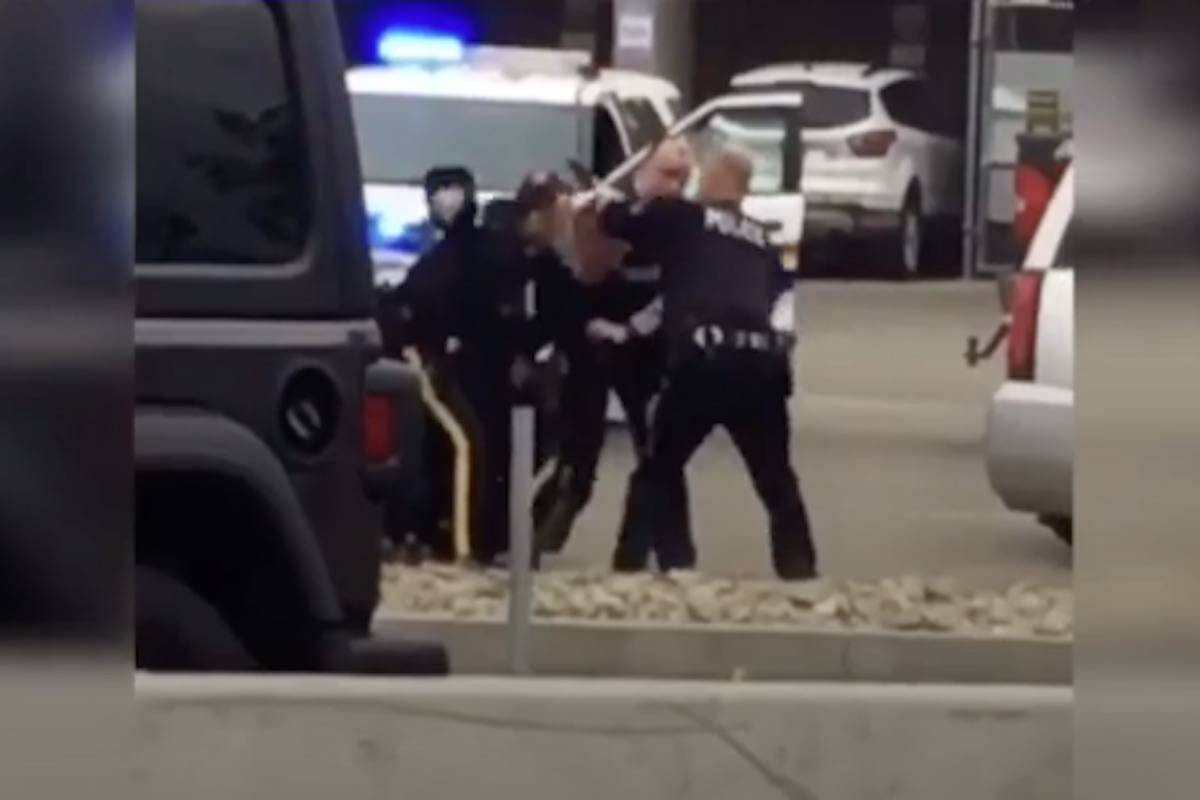 Image from a video taken of the arrest on May 30 in downtown Kelowna.