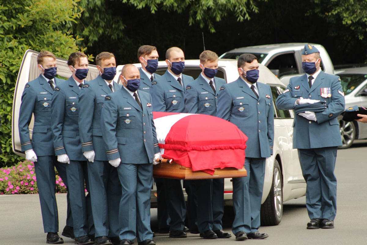 The body of Capt. Kevin Hagen was carried into a Saanich funeral home on June 27 by other members of the Armed Forces. (Devon Bidal/News Staff)