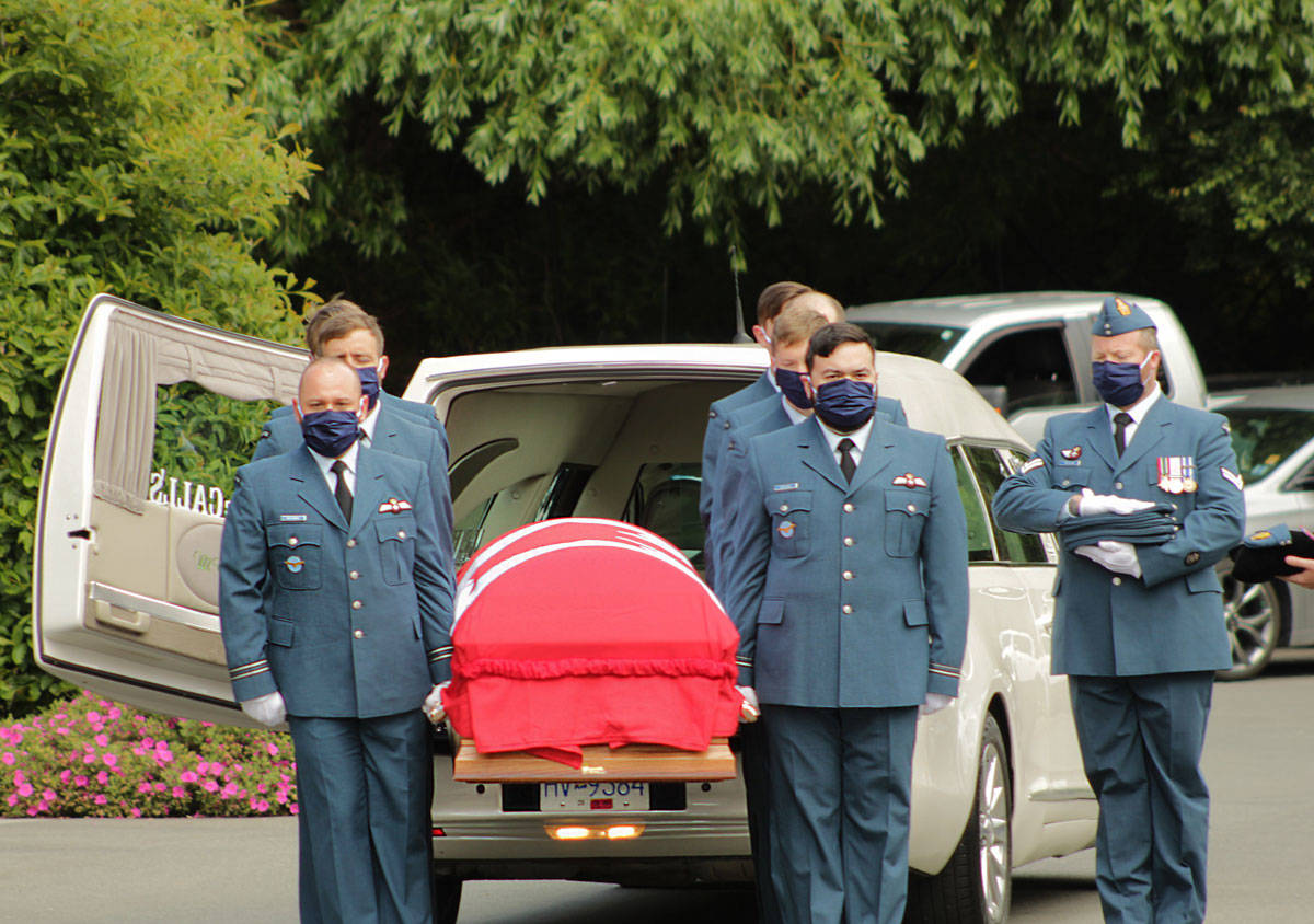 The body of Capt. Kevin Hagen, from Nanaimo, was returned to Vancouver Island on June 27 and taken to a Saanich funeral home via a police-escorted motorcade. (Devon Bidal/News Staff)