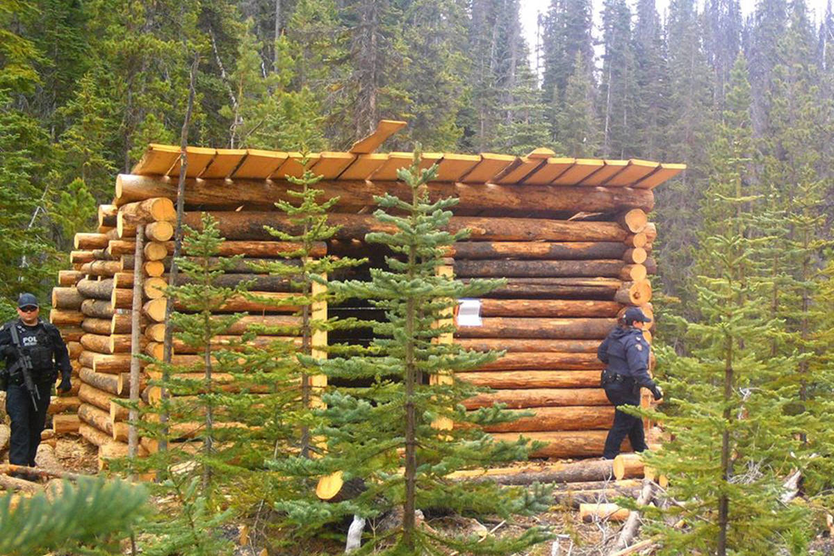 RCMP officers conducted a recent patrol and check of a smokehouse located on a gas pipeline's right of way on Wet'suwet'en territory. (Wet'suwet'en Access Point on Gidimt'en Territory Facebook photo)