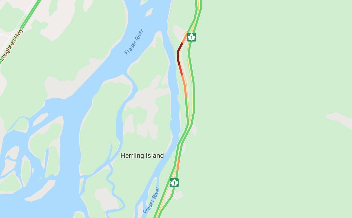 Highway 1 is at a standstill at Herrling Island outside of Popkum due to a vehicle crash (Screenshot/Google Maps).