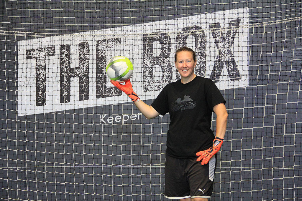 Adrienne Cook recently opened an indoor goalkeeper training centre on the Surrey-Langley border. She's holding an open house July 5 to let the public know about her facility and the programs she offers. (Photo: Malin Jordan)