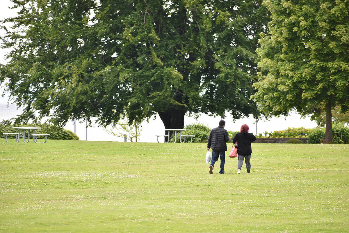 People meet on the American side of Peace Arch Park Tuesday afternoon. (Aaron Hinks photo)