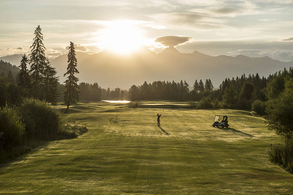 Tee time is served with spectacular mountain views from 25 championship courses in the Kootenays. Kari Medig photo. Kari Medig photo.