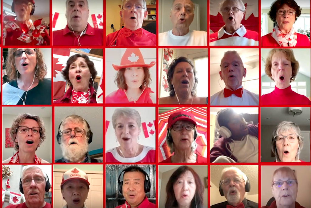 Langley Community Chorus performs national anthem. (screenshot)